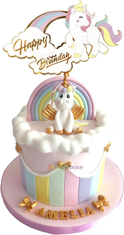 Unicorn Happy Birthday Cake Topper,Unicorn Cake Topper Decoration for Unicorn Baby Shower Birthday Party Supplies