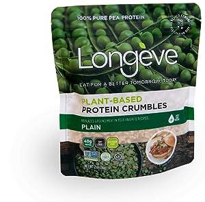 Longève Plant-based Protein Crumbles - PLAIN - (Gluten-Free, Vegan, Soy-Free, Keto, TVP) - 2 ounces