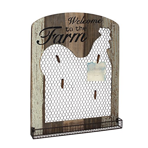 Stonebriar Farmhouse Wooden Rooster Mesh Message Board ()