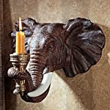 Design Toscano Elephant African Decor Candle Holder Wall Sconce Sculpture, 12 Inch, Set of Two, Polyresin, Full Color