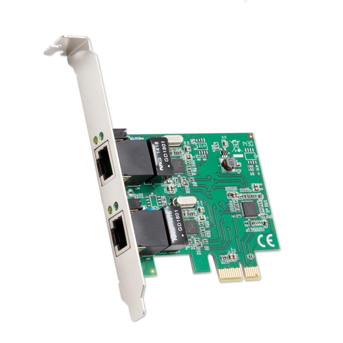 Syba-Port PCIe Ethernet, 2 x 1, con Chipset e staffe basso profilo SD-PEX24041