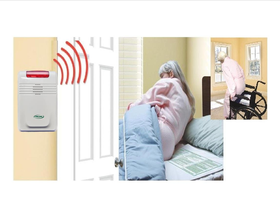 Cordless, Wireless Alarm With Both bed & Chair Pads (No alarm in patient's room)