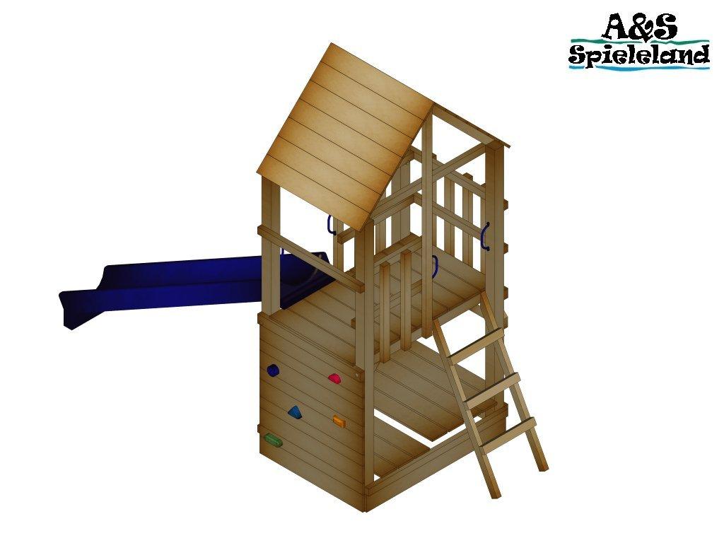 Spielturm BASTI 2.0 Rutsche 240 cm Kletterturm Schaukel Pfosten 9x9cm