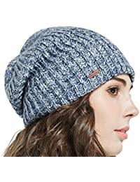 60f3eb90044 Winter Beanie Skull Cap Warm Knit Fleece Ski Slouchy Hat for Men   Women