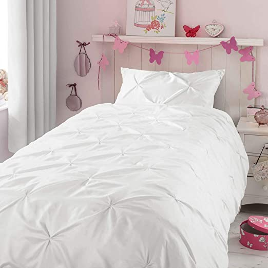 Kids Duvet Cover Twin, Glossy Polyester Face and 100% Cotton Reverse, Light  Weight White Duvet Cover Set for Baby Teen Girls Bedroom, Cute Ruched ...
