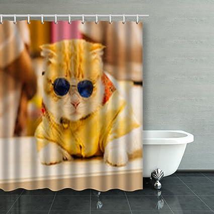 Cortinas decorativas de ducha personalizadas para gatos y chinas, cortinas de baño de poliéster impermeables