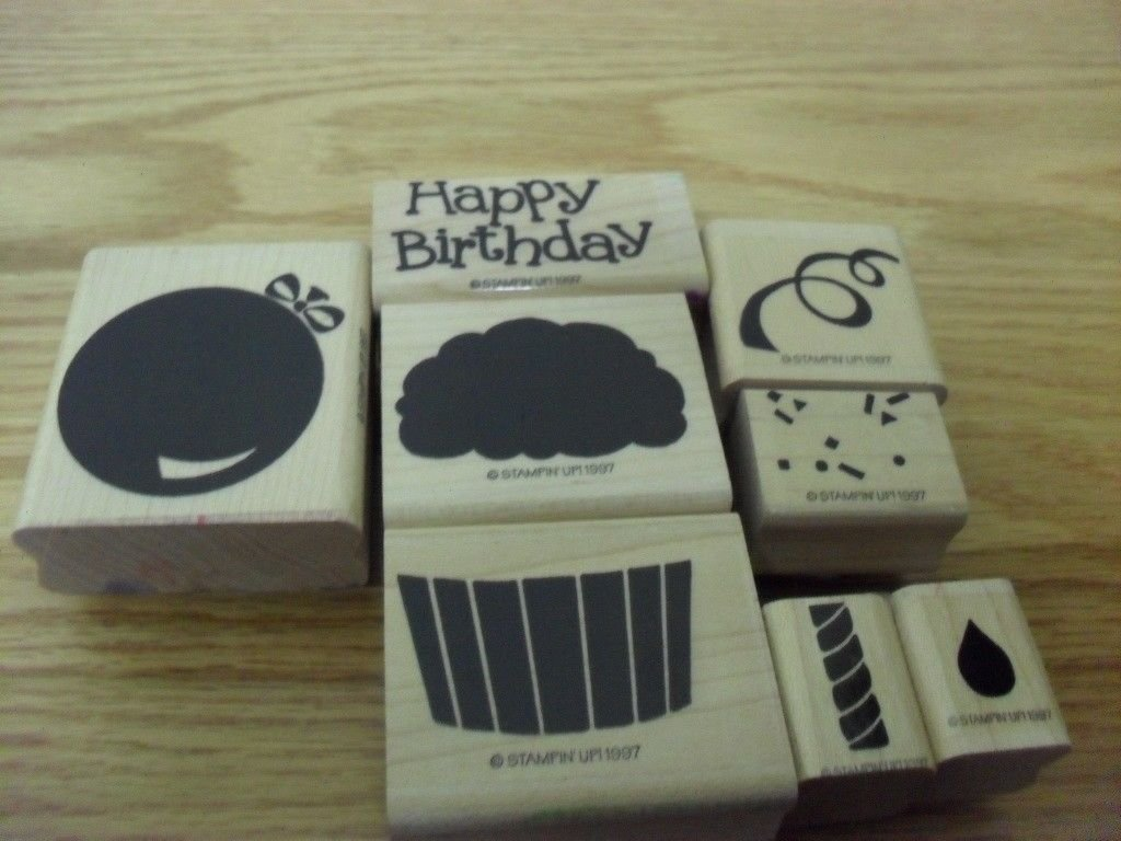 Stampin' Up! Confetti Cupcake Two Step Rubber Stamp Set of 8 ~ 1997