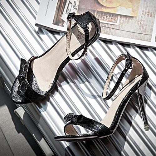 COOLCEPT Mujer Moda Al Tobillo Charming Sandalias Oro Plata Boda Fiesta Zapatos Negro