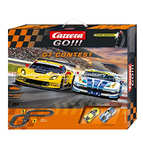 Carrera GO!!! GT Contest 1:43 Scale Electric Powered Slot Car Race Track Set - Corvette vs - Lane Memory Car