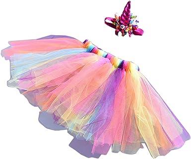 Falda de Tutú Arcoiris de Tul con Diadema Trajes para Fiesta de ...