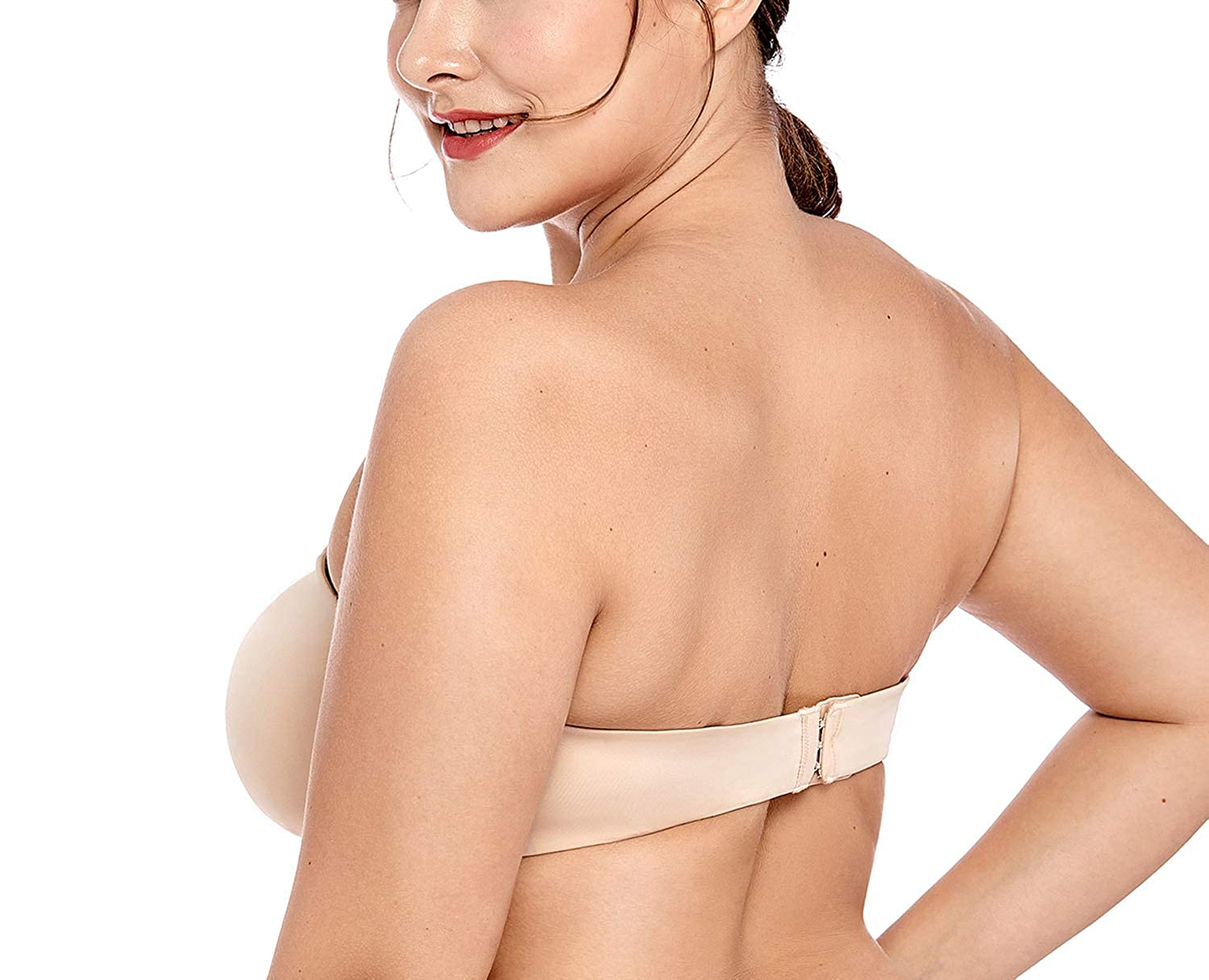 EveyWell Womens Smooth Seamless Invisible Underwire Strapless Minimizer Bra,Black01,F,38