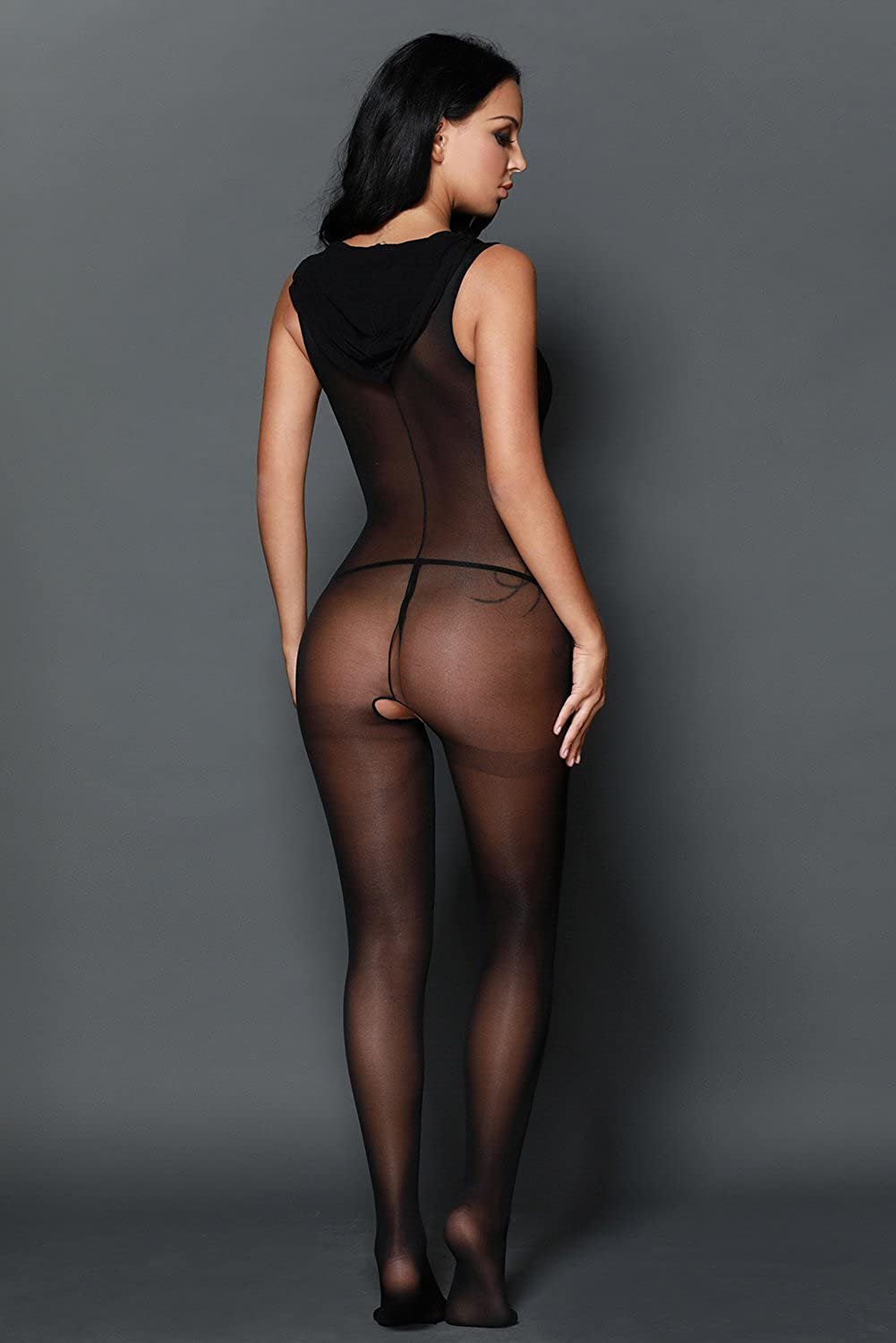 9a7131f3057 Sexy Black Nylon Hooded Bodystocking Crotchless Open Crotch Size 8 10 12 14  16  Amazon.co.uk  Clothing