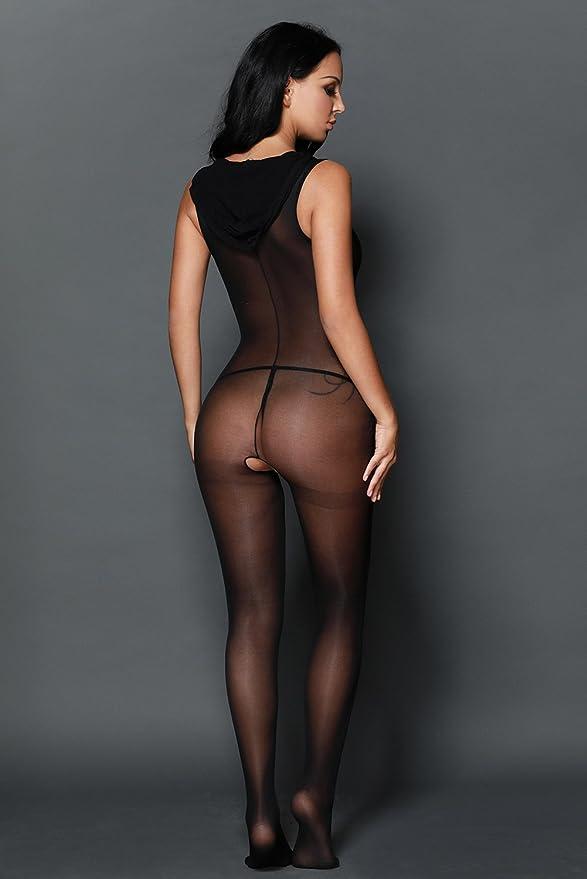 f9c8b98171ede Sexy Black Nylon Hooded Bodystocking Crotchless Open Crotch Size 8 10 12 14  16: Amazon.co.uk: Clothing