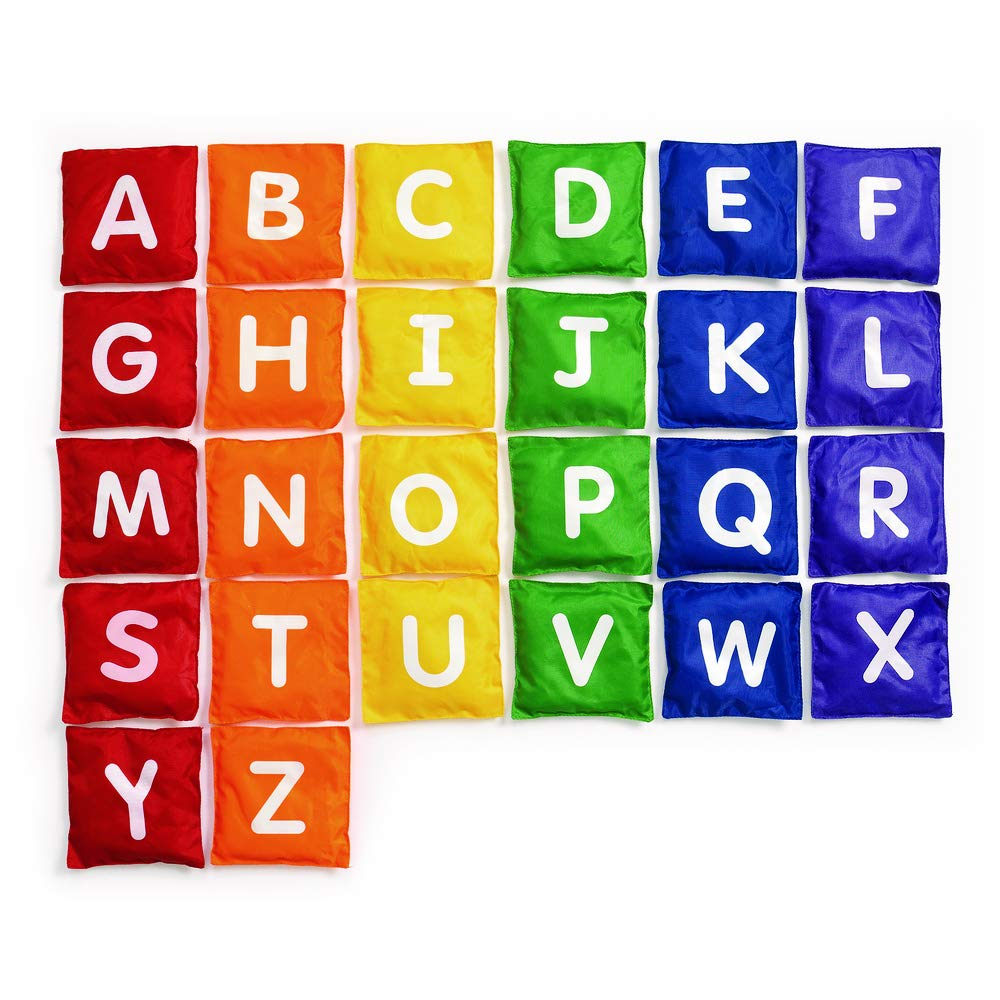 Kids Educational Toy Excellerations 26 Pack Nylon Alphabet Bean Bags Measure 5Sq Fun Sports Game Bean Bag Toy Bean Bag Toss Game