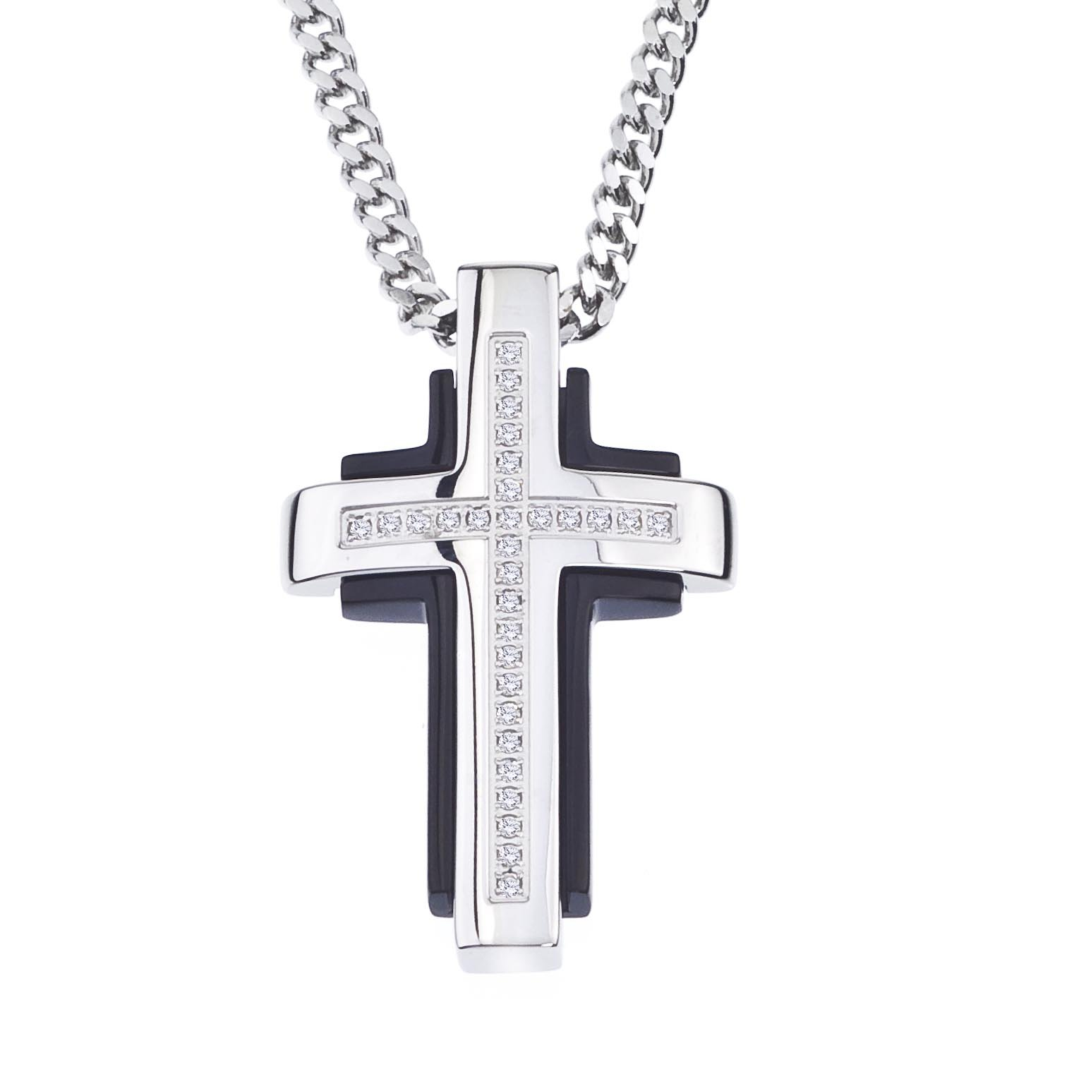 Diamond Cross Pendant in Stainless Steel (0.15 carats) by AX Jewelry