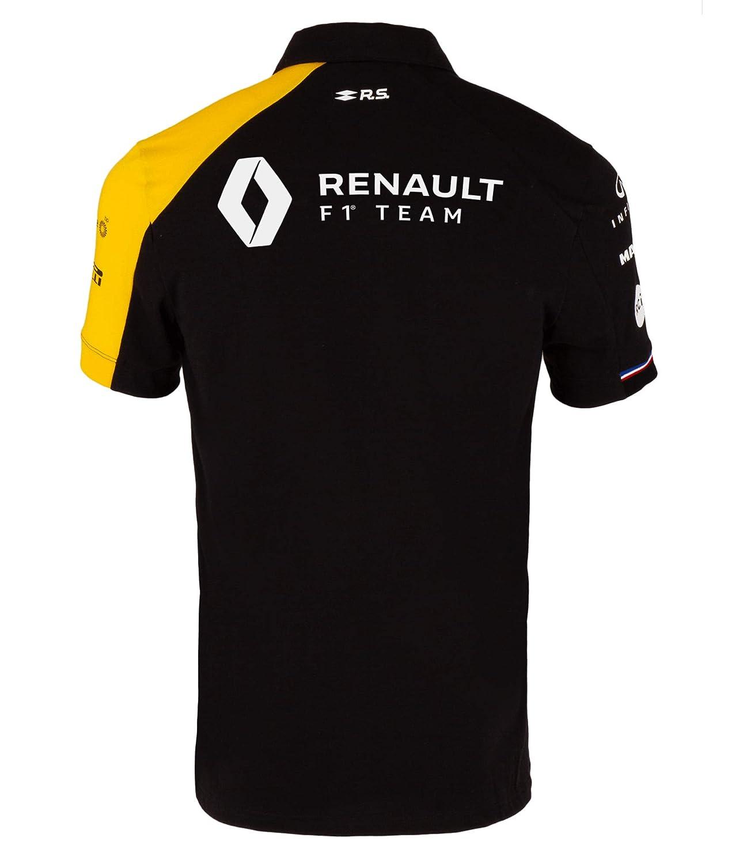 Color Negro Polo para Hombre Oficial del Equipo Renault F1 2019
