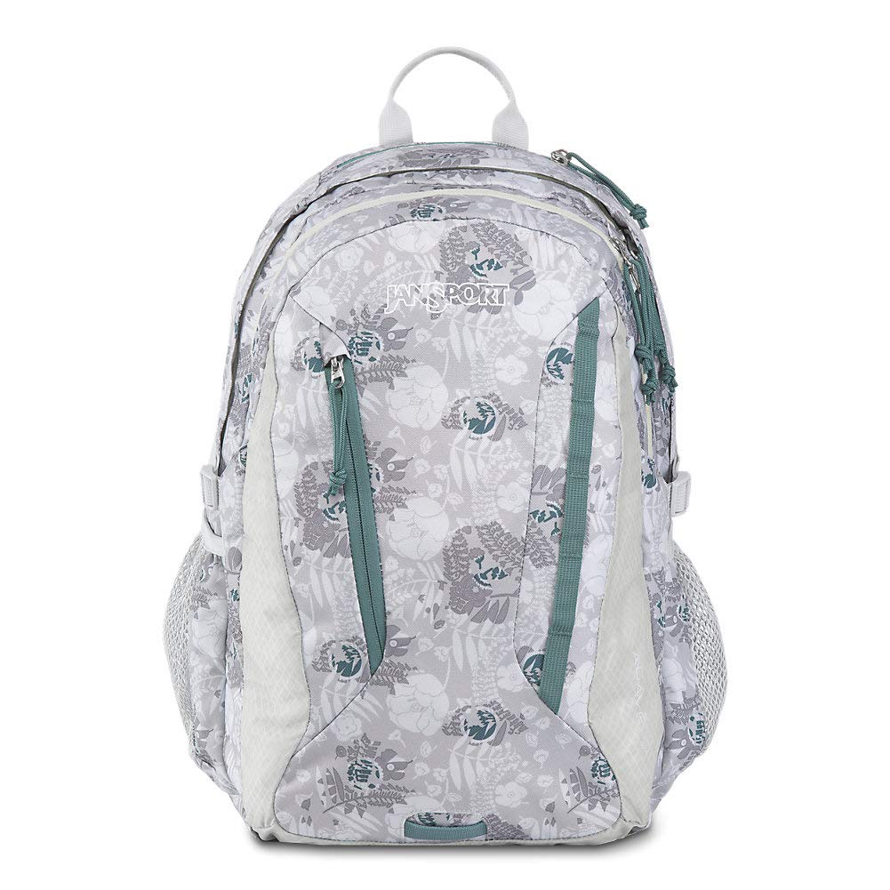 JanSport Women's Agave Backpack - Ideal Daypack for Hiking & School | Internal Sleeve Fits 15'' Laptop or 3L Hydrations System | Sleet Silver Vines Print