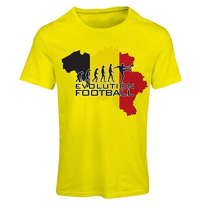 lepni.me Camiseta Mujer Evolution Football - Bélgica, La Bandera Belga (Small Amarillo