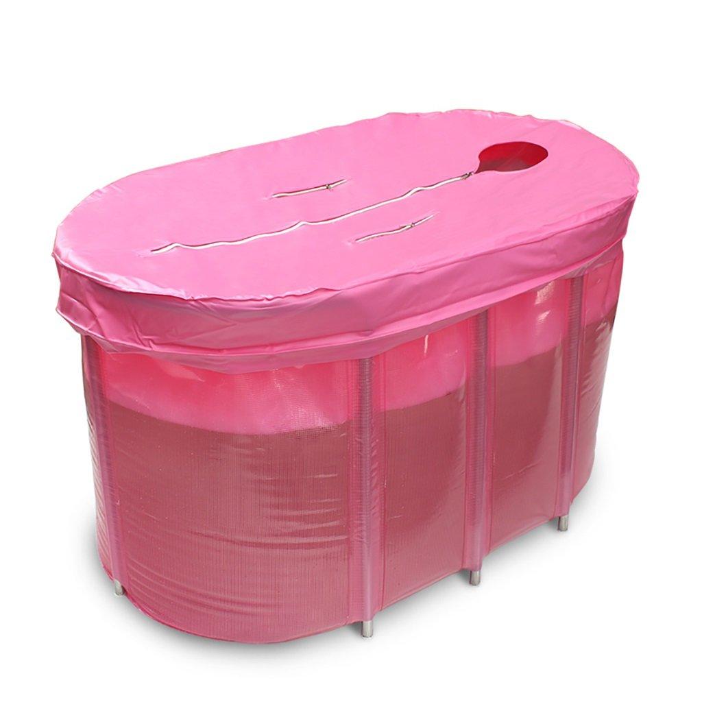 PM YuGang Foldable Inflatable Thick Warm Adults Bathtub, Children Inflatable Pool Bath Tub, Pink