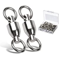 AMYSPORTS Ball Bearing Swivels Connector High Strength Stainless Steel Solid Welded Rings Barrel Swivels Saltwater…