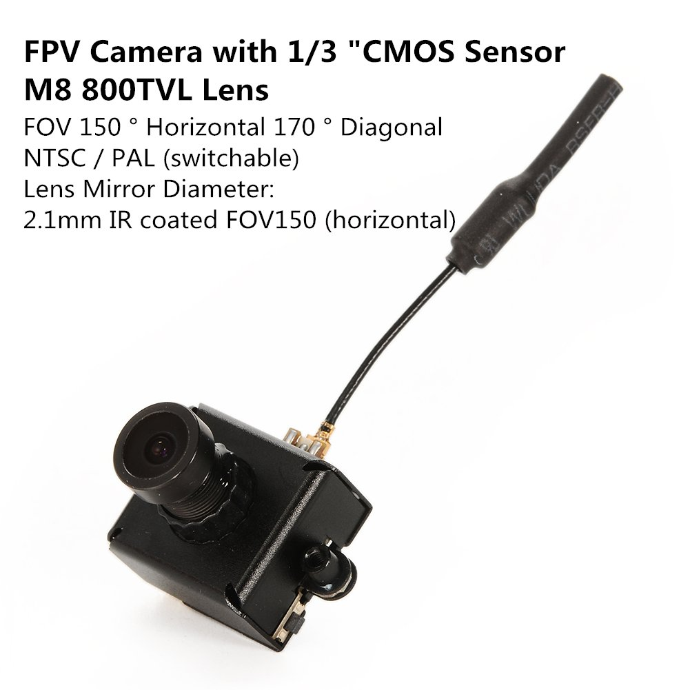 Lanlan 5.8G 40CH 25mW 1/3 CMOS Sensor FPV Micro AIO Camera with Bendable & Detachable Antenna for FPV Drone/Helicopter