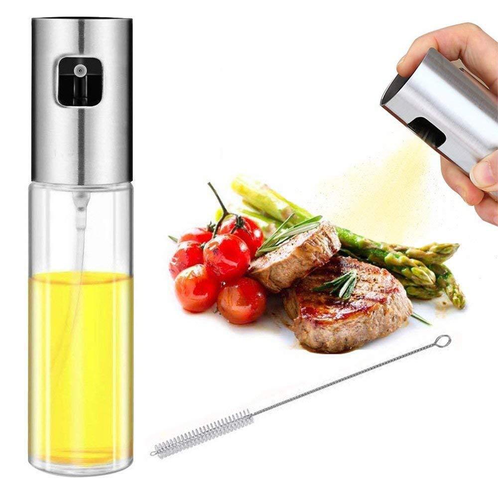 Eboss Oil Sprayer for Cooking, Olive Oil Sprayer Vinegar Bottle with Brush, Food-Grade Glass Bottle Oil Dispenser for Frying, BBQ, Cooking, Baking Kitchen