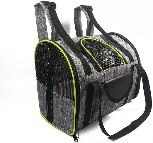 Portador para perros Mochila portátil para mascotas Portador para gatos Bolsa de viaje para perros pequeños salientes Portador para mascotas transpirable lateral suave para gato-Gris Verde_S: Amazon.es: Productos para mascotas