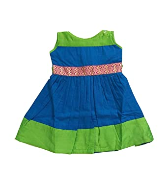 77e79df9e953 Amazon.com  Pattu Pavadai Green and Blue Pure Cotton Frock for Just ...