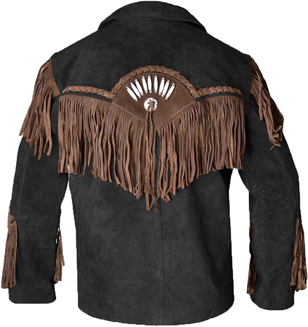 MSHC Western Cowboy Mens Fringed Suede Leather Jacket D12 V1 XXS-5XL Black
