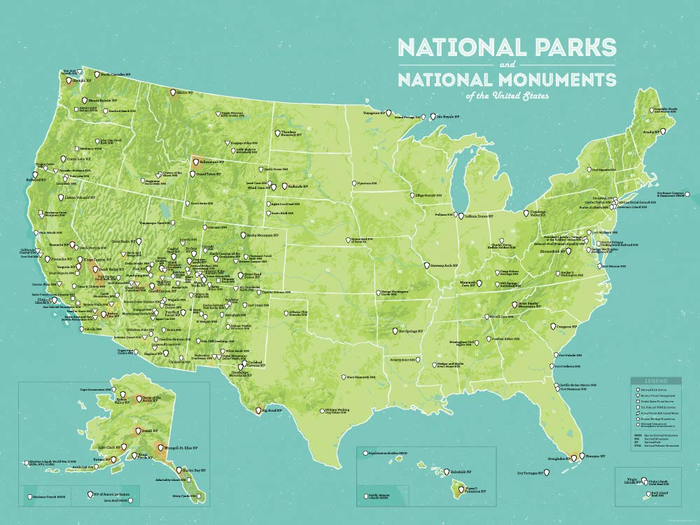 Best Maps Ever US National Parks & Monuments Map 18x24 Poster (Green & Aqua)