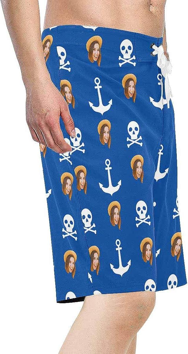 Custom Photo Happy Wife Face Skull Anchor Mens Boardshorts Swim ...