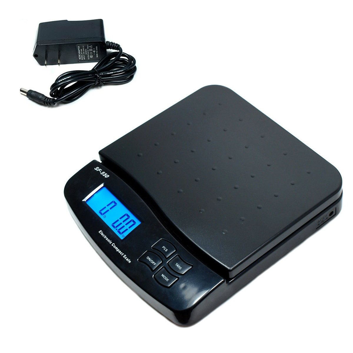 25KG/55LB x 1g/0.1oz Accurate Digital Shipping Scale Weight Weighing Postage Mailing Counting PCS Ktchen House Scale with AC/DC Adapter Bright Screen Good Interface | Black