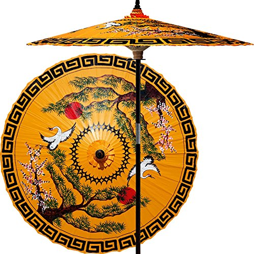 Oriental-Decor 7 Foot Tall Hand-painted Patio Umbrella Mirrored Cranes in Orange, Handcrafted Bamboo Dual-Height Market Umbrella with Hardwood 2-Piece Pole ()