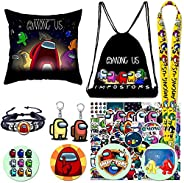 Among US Bag Sticker Gift Set - Included Drawstring Bag, Cartoon Stickers, Pillow Slip, Button Pins, Keychain,