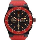 Relojes Calgary España World Cup. Reloj Deportivo para Hombre, Correa de Caucho Rojo, Esfera Color Negra