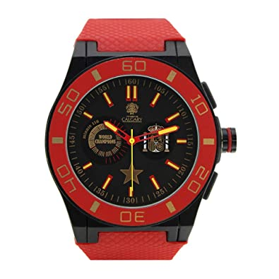 Reloj Deportivo para Hombre, Correa de Caucho Rojo, Esfera Color Negra