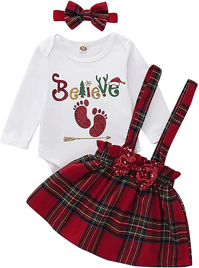 Newborn Infant Girls Christmas Outfit Clothes,Santa Baby Bodysuit+Plaid Skirts Dress with Headbands Clothing Set