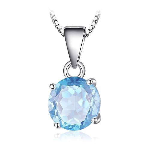 JewelryPalace Runde 2.5ct Natur Himmel Blau Topaz Birthstone Solitaire Anhänger Halskette 925 Sterli...