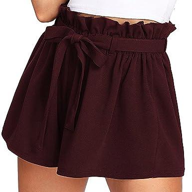 ❤️LILICAT Femmes Occasionnels Taille élastique Chaud Pantalons Shorts d été  Jersey Marche Courts Métrages Mode Élégant Couleur Unie Dames Sangle Shorts   ... 2cdebc2d1f49