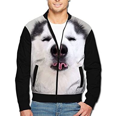 ec545398f57 Amazon.com  Men s Bomber Jacket My Husky Front Print Casual Lightweight  Full-Zip Jacket Coat with Pockets  Clothing