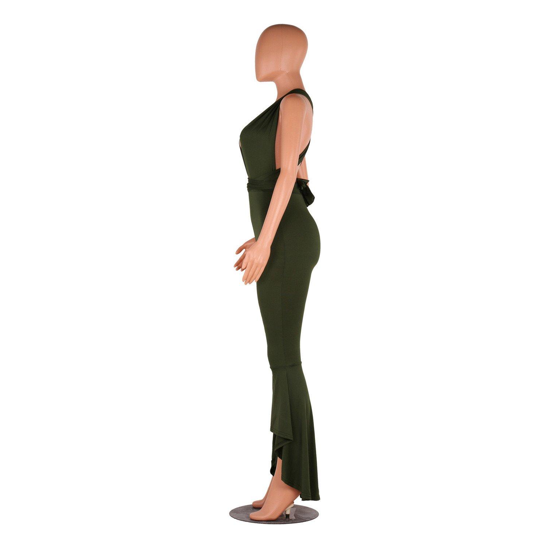 ca66250d63 Amazon.com  Sleeveless Deep V Neck Frill Ruffled Ruffle Peplum Flared Flare  Bell Bottom Asymmetric Hem Pants Jumpsuit  Clothing
