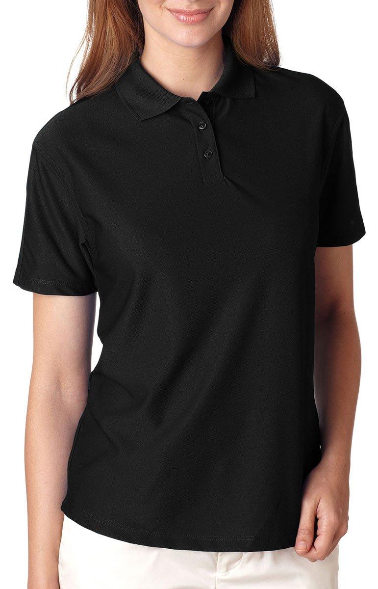 UltraClub Ladies' Cool & Dry Elite Polo Shirt, Black, X-Large. (Pack of 5)