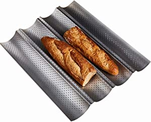 Baguette Pan, Non-stick Perforated French Bread Pan Bakeware Toast Cooking Bake Mold Home baking Bread Mold Perforated French Bread Pan Wave Loaf Bake Mold - 4 Loaves (4 Loaves, Silver)