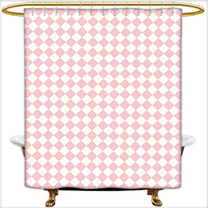 Bathroom Curtain With Removable Checked Pattern White Squares On Light Pink Background Soft Colors Retro Design
