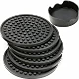 ENKORE Drink Coasters Set of 6 Pack In Holder, Gray - Non-stick to Cup With Ridged Silicon Base, Good Grip to Surface to Stay Put, Deep Tray To Catch Drip and Spill, Large Enough for Over-size Glasses