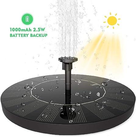 SUVOM Solar Fuente Bomba, 2.5W Bomba de Fuente Solar Jardín de Agua Independiente con Batería de 1000mAh para el Aire Libre Baño de Aves, Estanque, Piscina, Patio, decoración de Jardín: Amazon.es: Jardín
