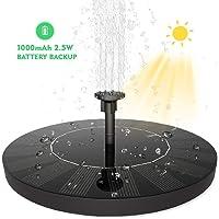 SUVOM Solar Fuente Bomba, 2.5W Bomba de Fuente Solar Jardín de Agua Independiente con Batería de 1000mAh para el Aire Libre Baño de Aves, Estanque, Piscina, Patio, decoración de Jardín
