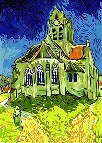 Church Oil Paintings - Vincent Van Gogh-The Church At Auvers-DIY Painting digital oil painting 16x20 inch paint by number kits Frameless