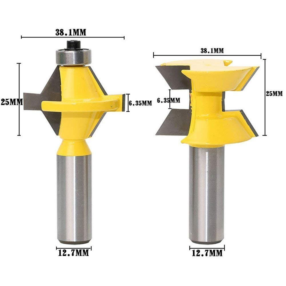 2Pcs Tongue and Groove Router Bit Set 1/2'' Shank 120 Degree Wood Milling Cutter Woodworking Groove Chisel Cutter Tool
