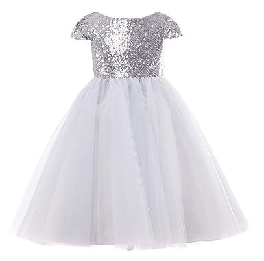 c2b11bbcf Amazon.com: Thstylee Sequin Cap Short Sleeve Knee Length Flower Girl Dress  Junior Bridesmaid Dresses Toddler Girl Size Us 12t Silver: Clothing